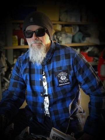 CrossRodAce,Brushed,Flannel,Check,Shirt,-,Blue/Black,Cross, Rod, Ace, www.CrossRodAce.com, CrossRodAce, Brushed, Flannel, Check, Warn, Biker, Hotrodder, Men, Long, Sleeved, Shirt, Hotrod, hot, rod, cars, bikes, choppers, bobber, hotrodder, kustom, lowrider, low, rider, drag, racing, racer, dragracer, hell d
