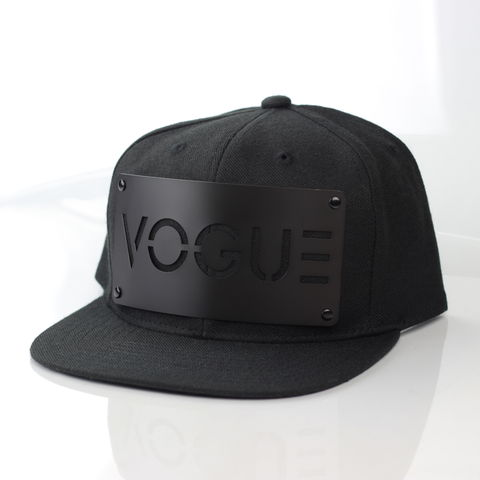 Vogue,Black,on,Snapback,Karl Alley, Metal, plate, snapback, hat, boy london