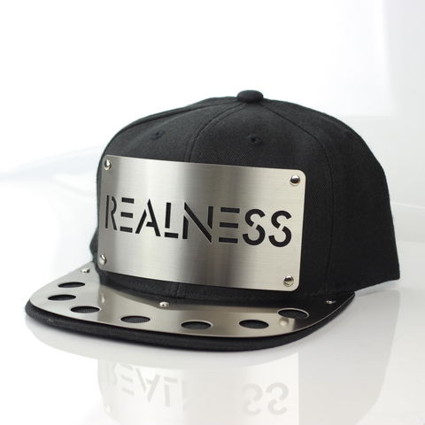 Realness,Metal,Brim,Snapback, Karl Alley, Metal, plate, snapback, hat, boy london, Metal Brim
