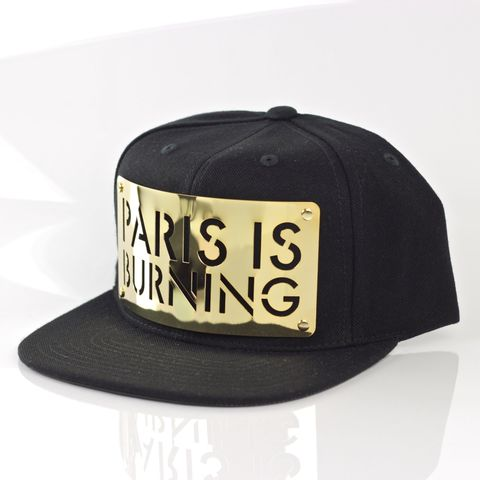 Paris,is,Burning,18K,Gold,Snapback,Karl Alley, Paris Is Burning, GOLD,  Metal, plate, snapback, hat, boy london