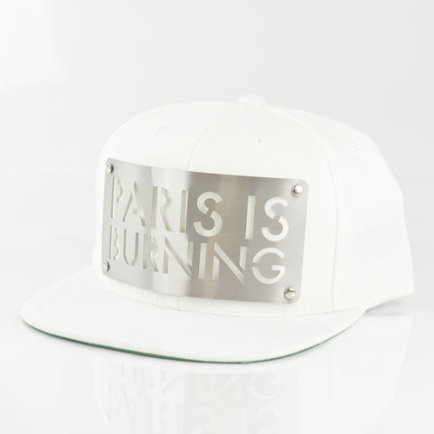Paris,is,Burning,White,Snapback,Karl Alley, Paris is Burning, White , Chrome, Snapback, Metal, plate, snapback, hat, boy london
