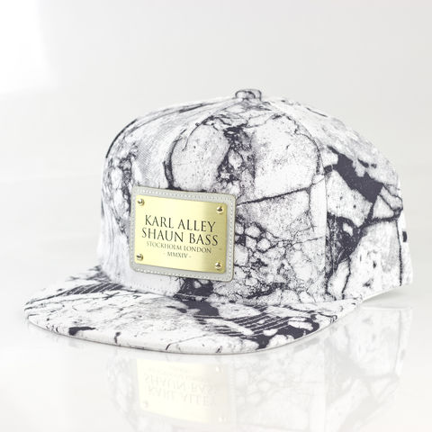 Karl,Alley,x,Shaun,Bass,White,Marble,Snapback,Karl Alley, Karl Alley x Shaun Bass, Shaun Bass, Marble, Marble collection, metal plate, snapback, hat, cap, long clothing, boy london, #karlalley