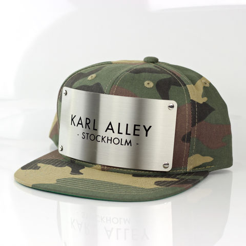 Karl,Alley,Stockholm,Snapback,(Woodland,Camo),Karl Alley, Stockholm, Camo , Brushed, Snapback, Metal, plate, snapback, hat, boy london