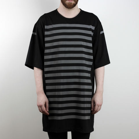 Silent,Reflection,-,Vertical,Stripe,Tee,Karl Alley, Shaun Bass, Stripes, Reflective, 3M, T-shirt, tee, long clothing, boy london