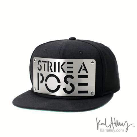 Strike,a,Pose,Snapback,Hat,Karl Alley, Strike a Pose, Metal, plate, snapback, hat, boy london