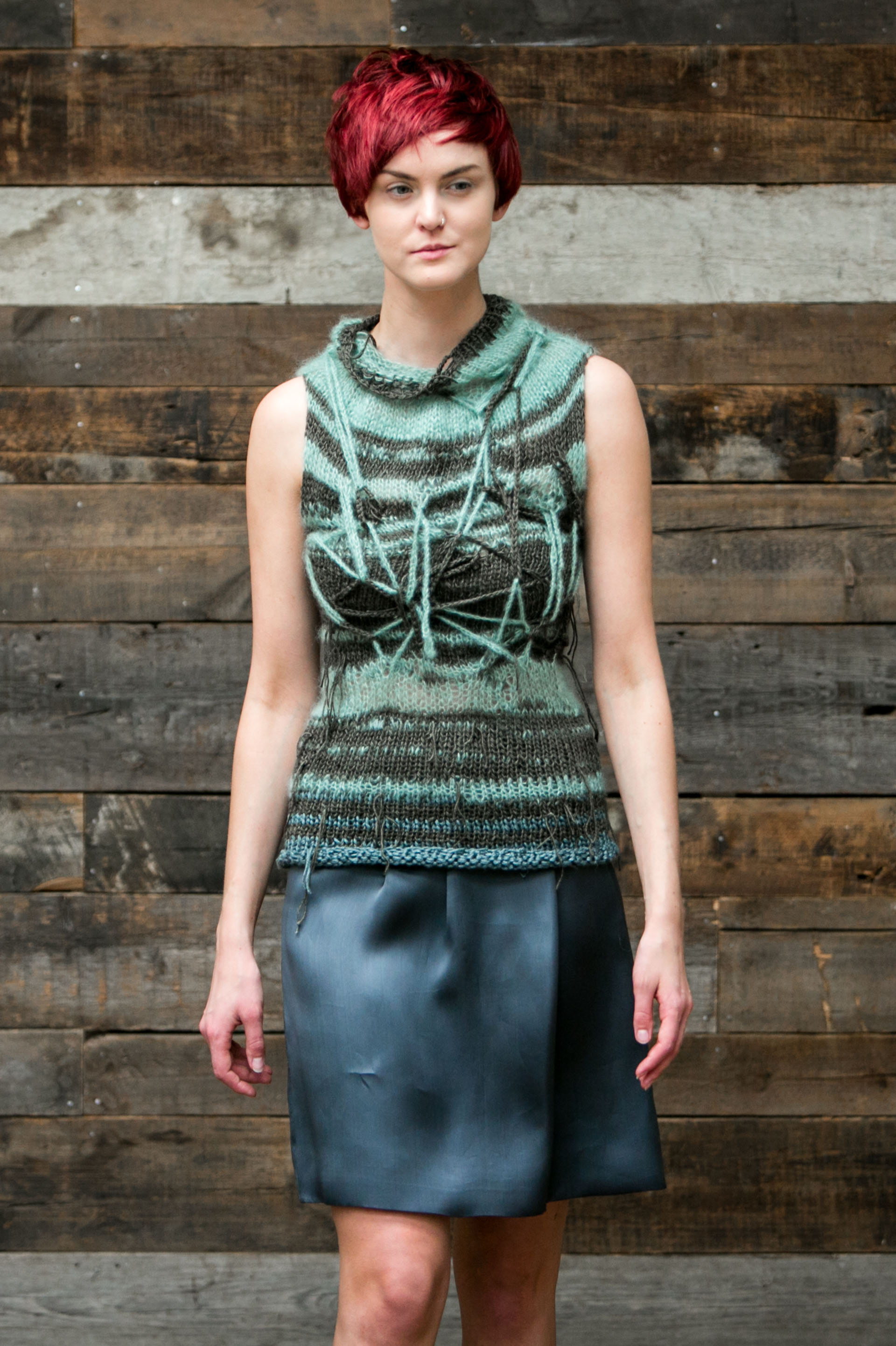Claire Andrew Womenswear Collection Couture Knitwear Conceptual Knit Sweater Vest - Tangled Stripes