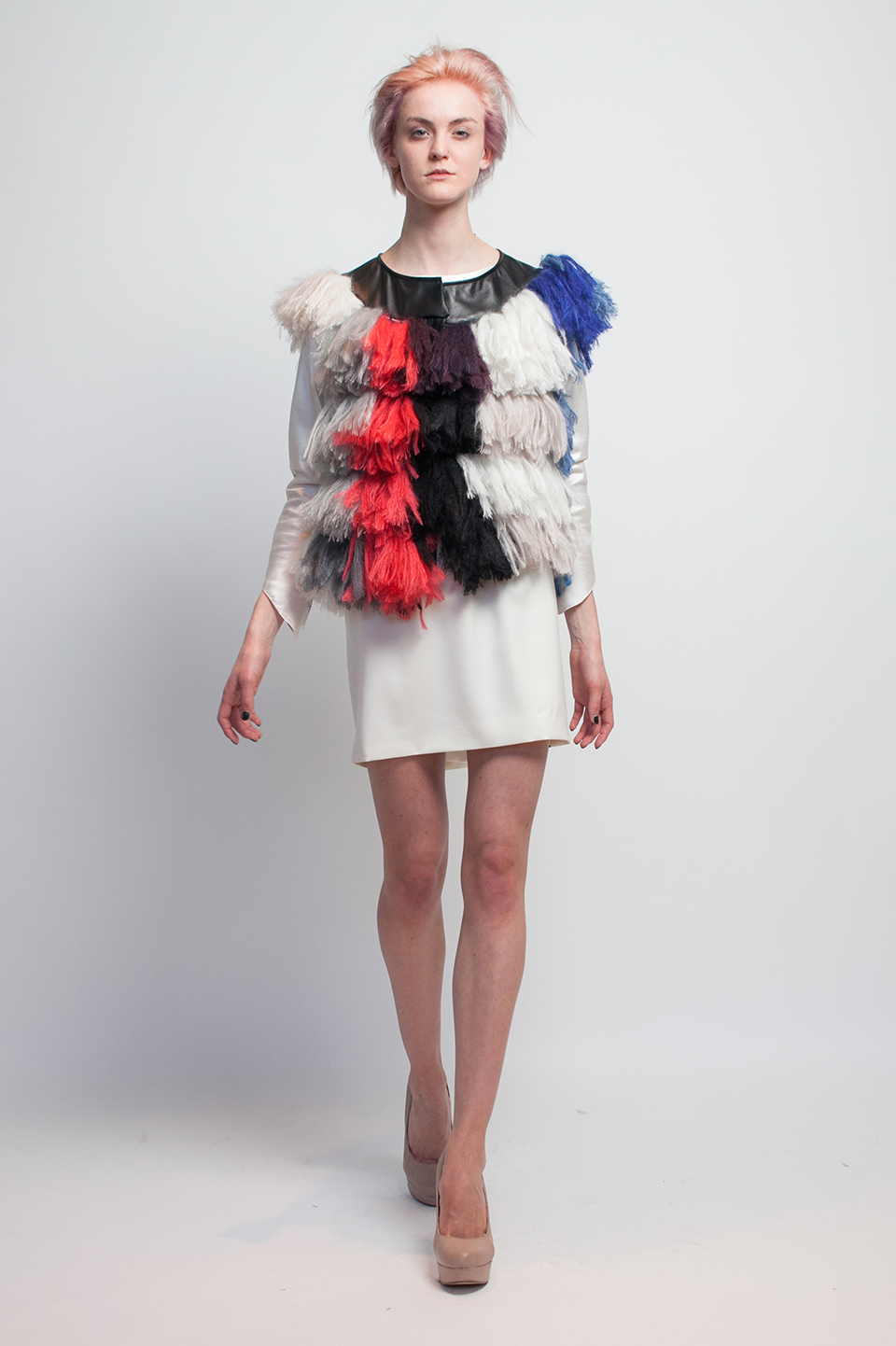 Claire Andrew Designer Fashion AW14 1 - Couture Knit Fringed Multi Gillet with Cream Sport Luxe Skirt