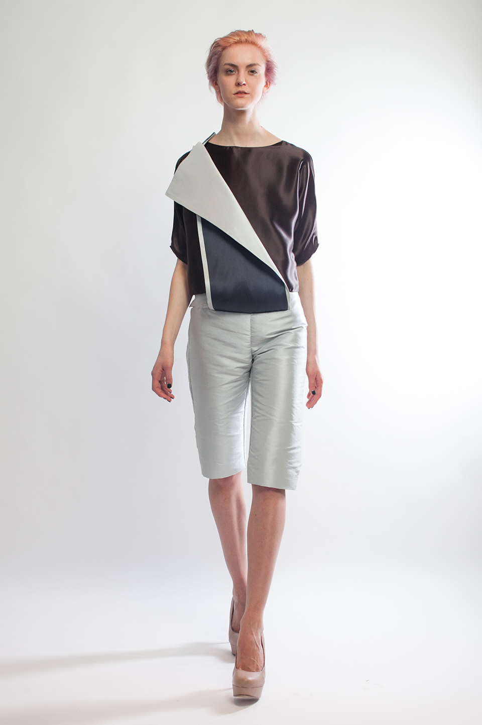 Claire Andrew Designer Fashion AW14 2  - Ice blue cropped trouser with silk chocolate 3/4 sleeve top