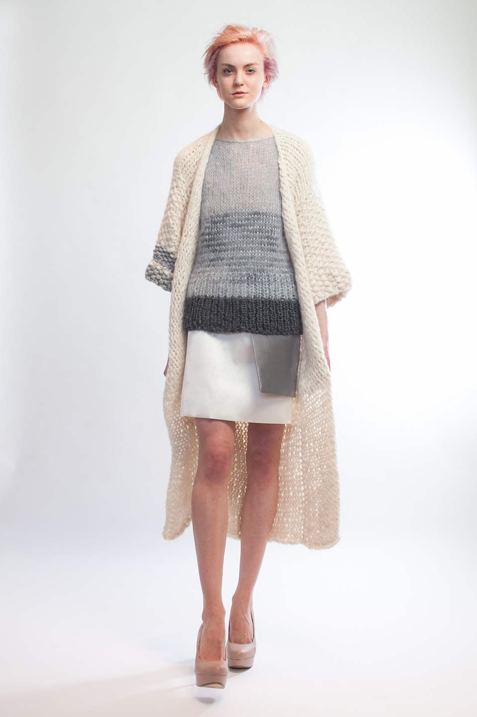 Claire Andrew Designer Fashion AW14 3 - Striped knit vest with longline chunky knit kimono cardigan