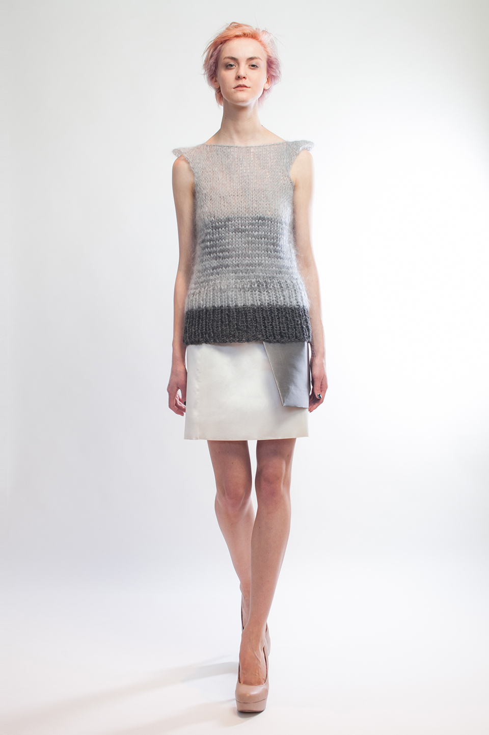 Claire Andrew Designer Fashion AW14 3 - Striped knit vest with layered sport luxe silk and wool skirt