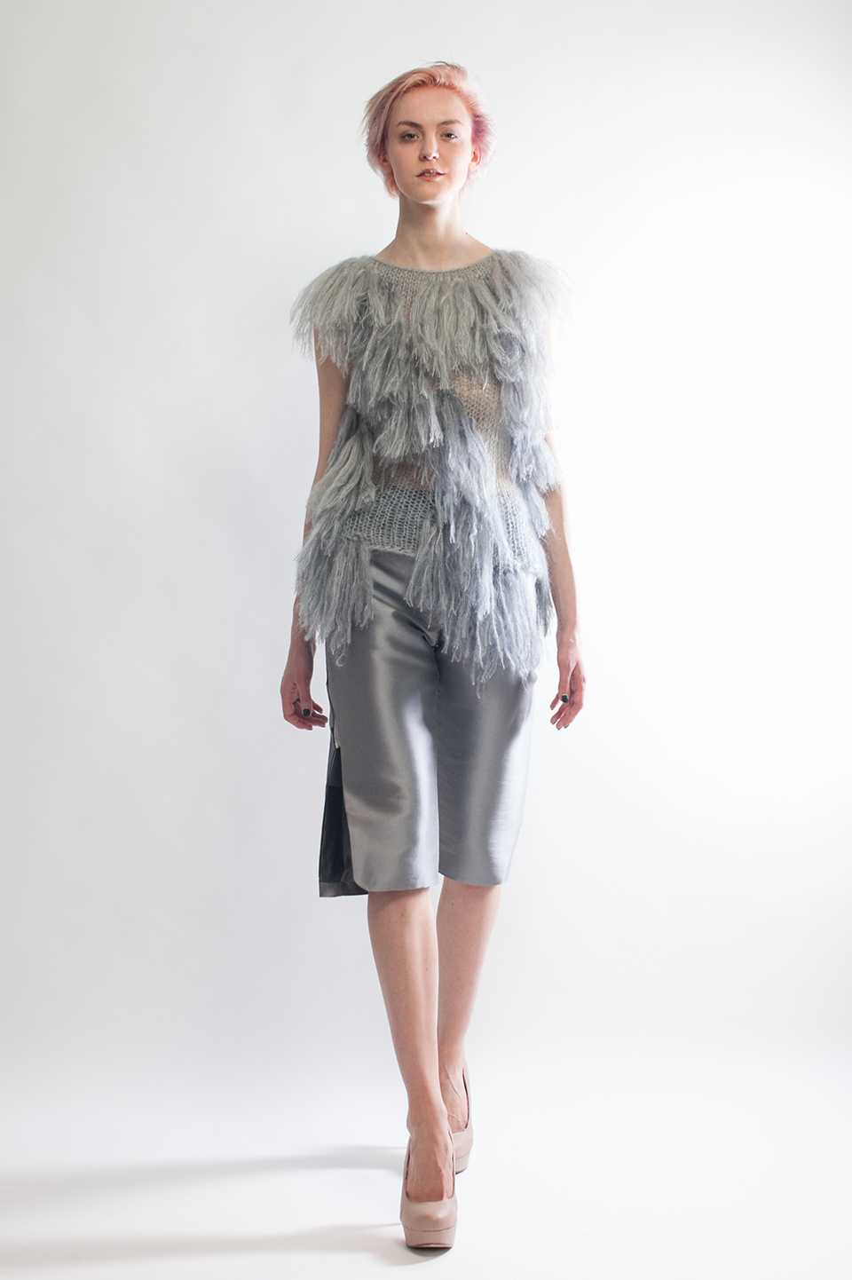Claire Andrew Designer Fashion AW14 5 - Grey shaggy fringed knit with silk zibeline cropped trouser