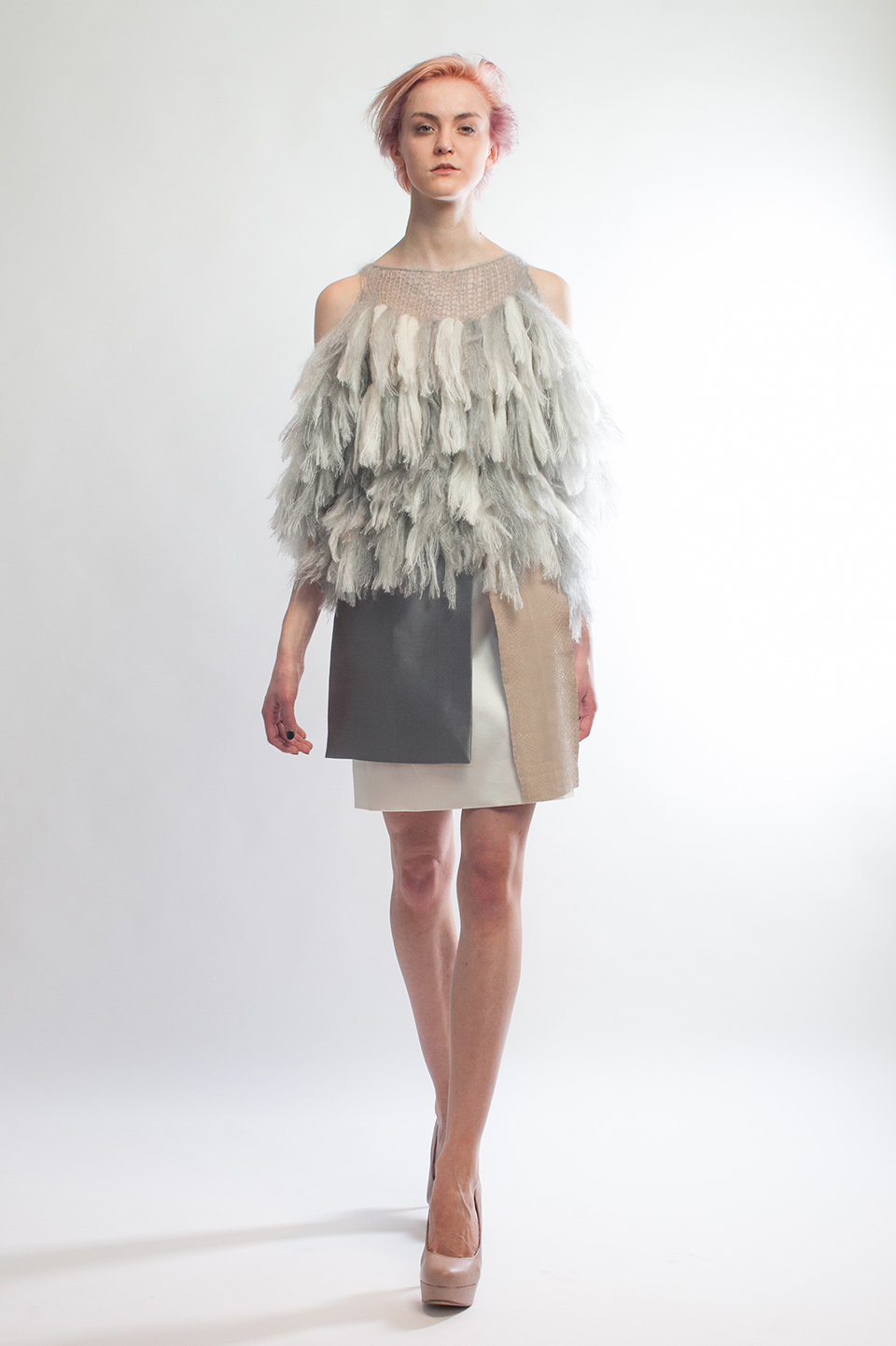 Claire Andrew Designer Fashion AW14 6 - Couture fringed knit cold shoulder knit with layered skirt
