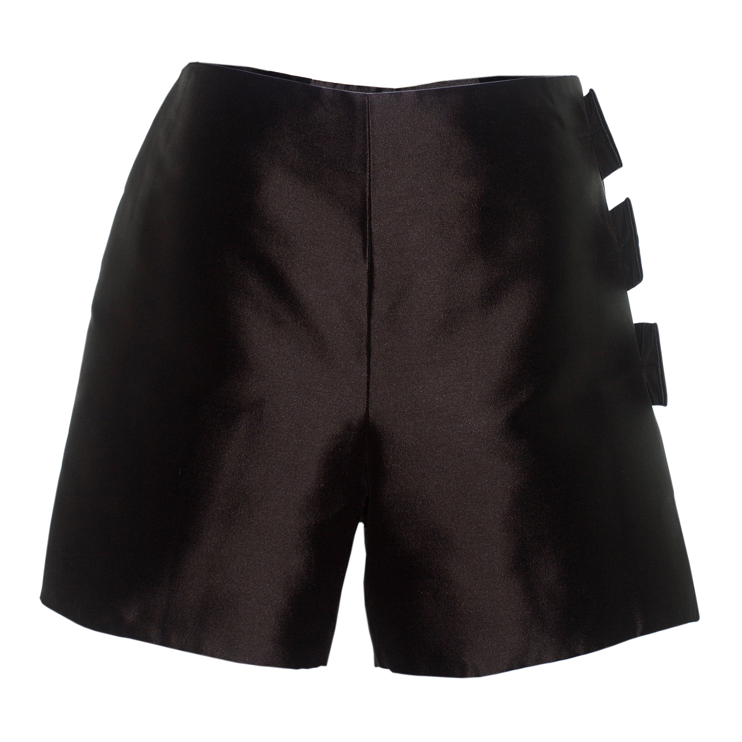 Black Silk Wrap Shorts