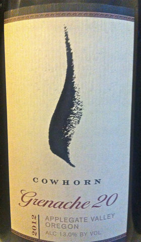 Cowhorn,Grenache,20,Applegate,Valley,2012,Europa Wine Merchant,United States,Southern Oregon