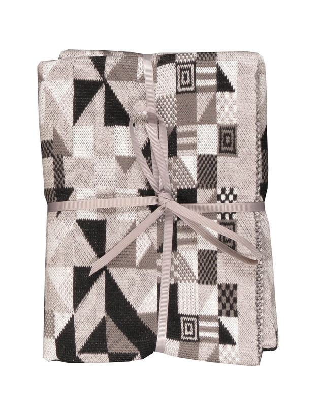 Geometric merino Pram or Buggy Blanket - Monochrome colourway - product images  of