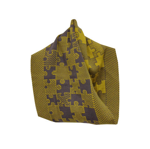 PUZZLE,Infinity,Scarves,-,Mustard,and,grey,colourway,scarves, scarf, infinity scarf, gifts, winter accessories