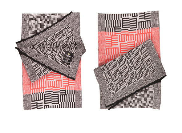 AMAZING MAZE Scarf - Black, coral, and grey colourway - product images  of