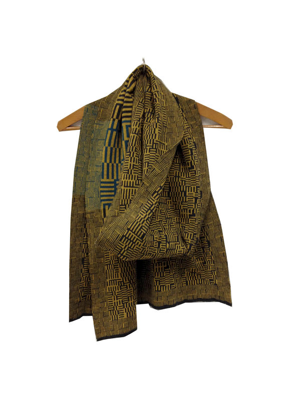 AMAZING MAZE Scarf - Charcoal grey, ochre, & teal colourway - product images  of