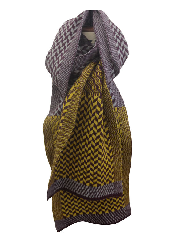 Extra long chevron patterned scarf in 100% Scottish Lambswool - three colourways - product images  of
