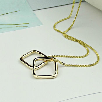 Solid 9ct Gold Slim Squares Necklace - product images  of