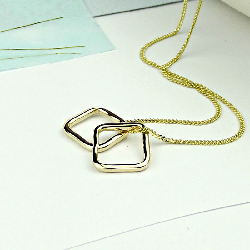 18ct Gold Slim Squares Necklace - product images  of