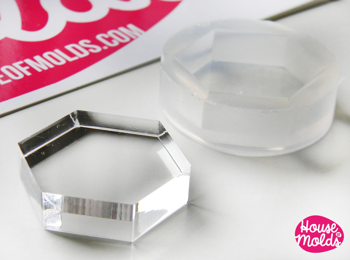 Hexagon Clear Mold 25 mm x 29 mm  ,Regular Hexagon transparent Mold  to make resin  earrings or pendants-very shiny surface easy to use! - product images  of