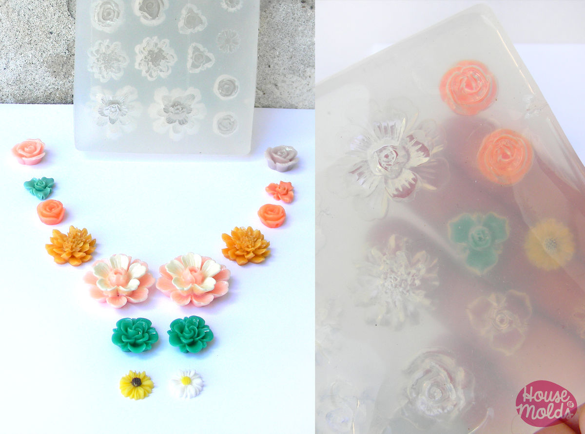 Flowers Set Clear Silicone Mold -14 cavityes-7 flowers styles for earrings ,pendants making,stunning results in one pour! - product images  of