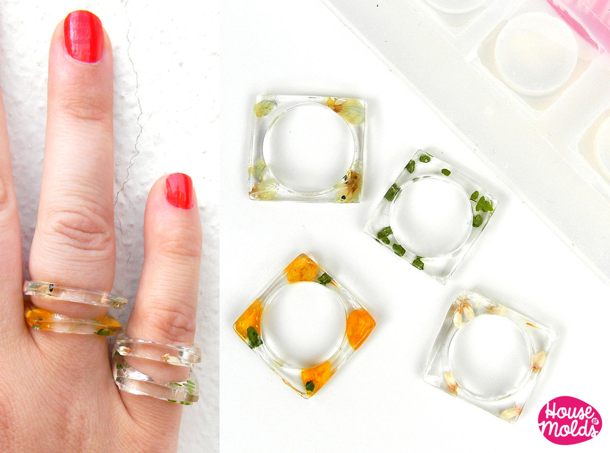 Thin Squared band rings 4 Sizes Clear Mold,Mold for Multisize Squared rings usa sizes  5,5- 6- 6.5 -8,5  stackable rings resin mold,transparent rubber - product images  of