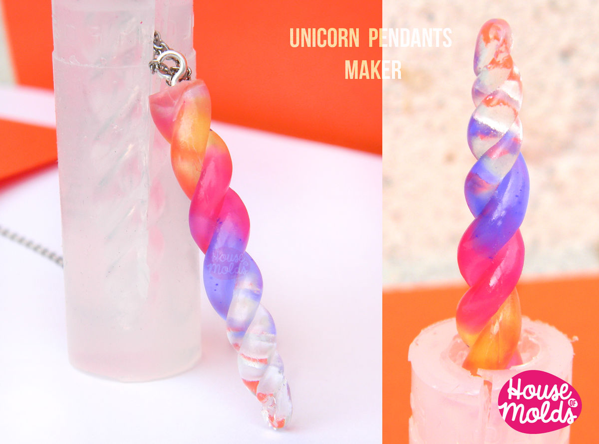 Unicorn Horn Clear Silicone Mold - HOUSE OF MOLDS-Magic Horn Unicorn pendants mold for resin,super shiny surface 47mm x9 mm - product images  of