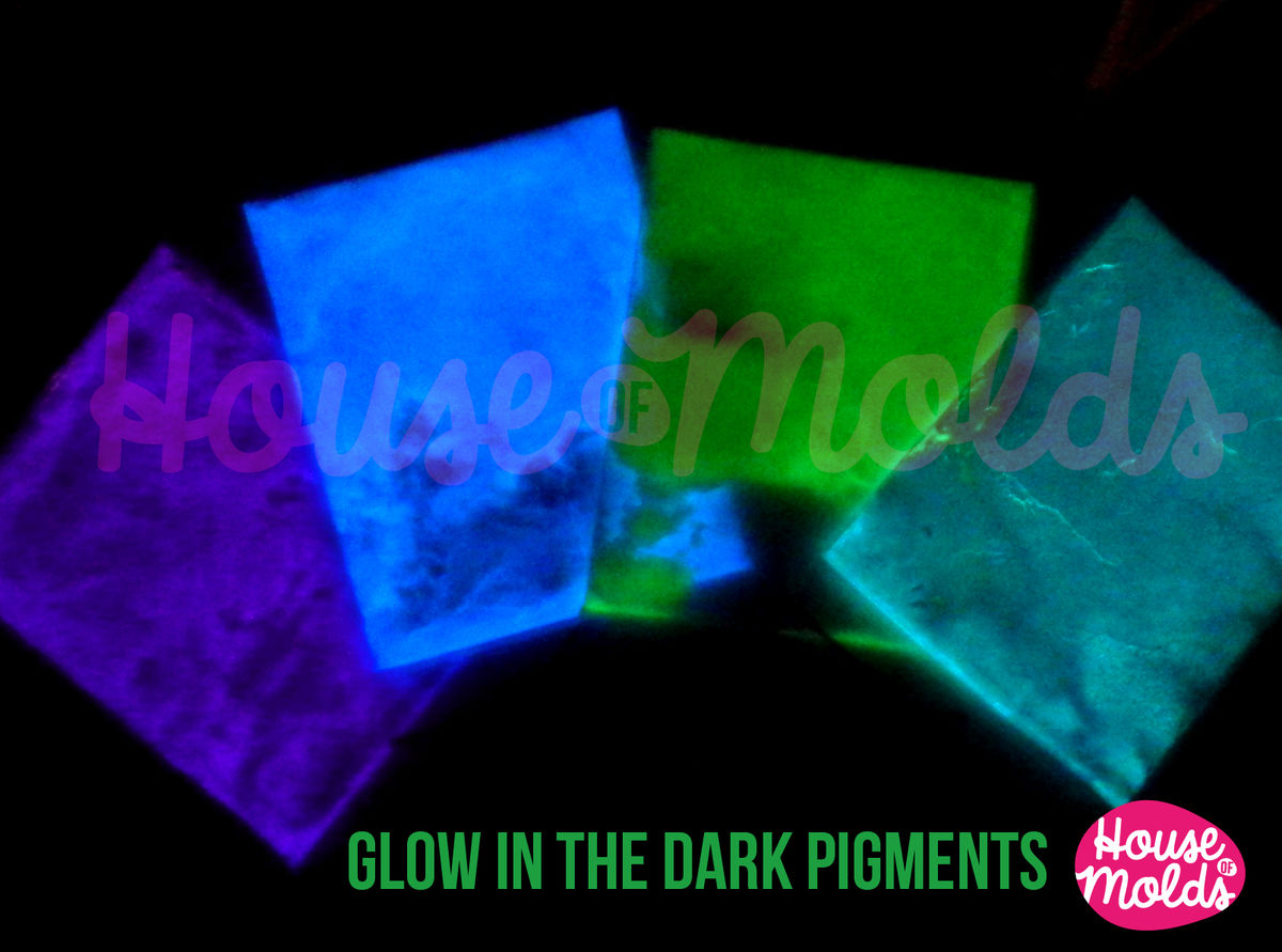 Glow in the dark Pigments for Resin Colour Kit of 4 -white in the light bright coloured in the dark--high glowing properties infinite combinations - product images  of