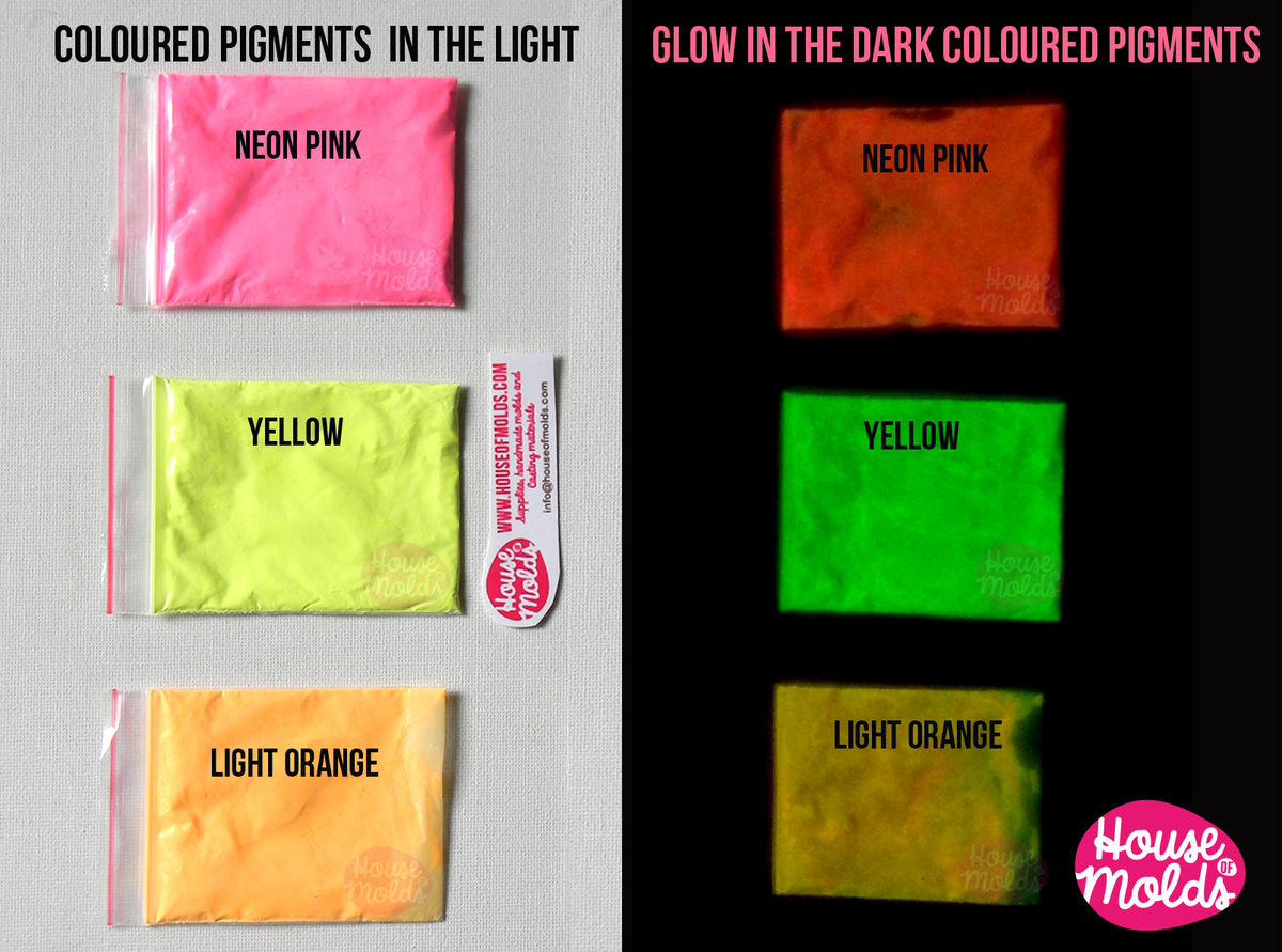 Bicolor Glow in the dark Pigments for Resin Colour Kit of 3 -coloured powders in the light bright coloured in the dark--high glowing properties infinite combinations - product images  of