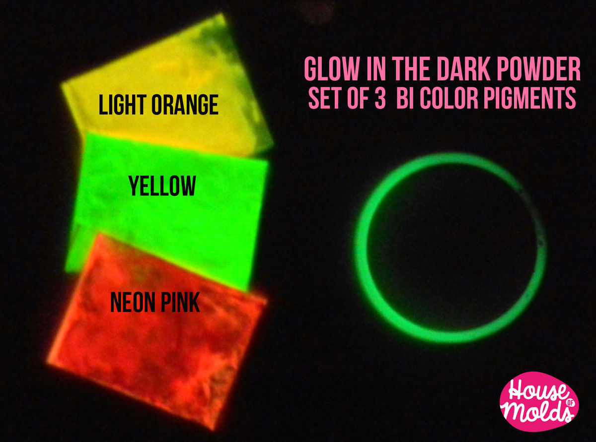Glow In The Dark Resin bicolor glow in the dark pigments for resin colour kit of 3