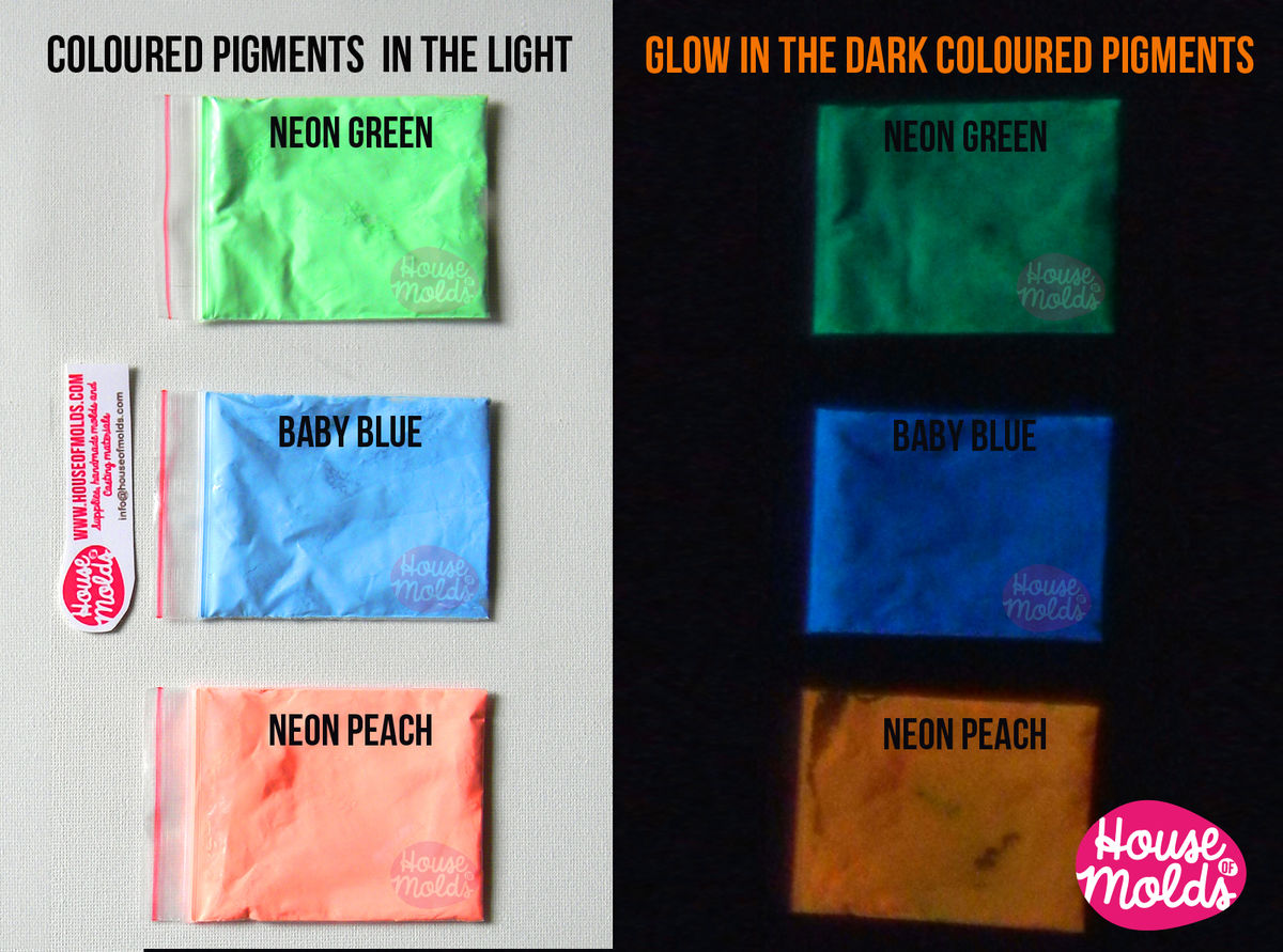 Bicolor Glow in the dark Pigments for Resin Colour KitB of 3 -coloured  powders in the light bright coloured in the dark--high glowing properties  infinite ...