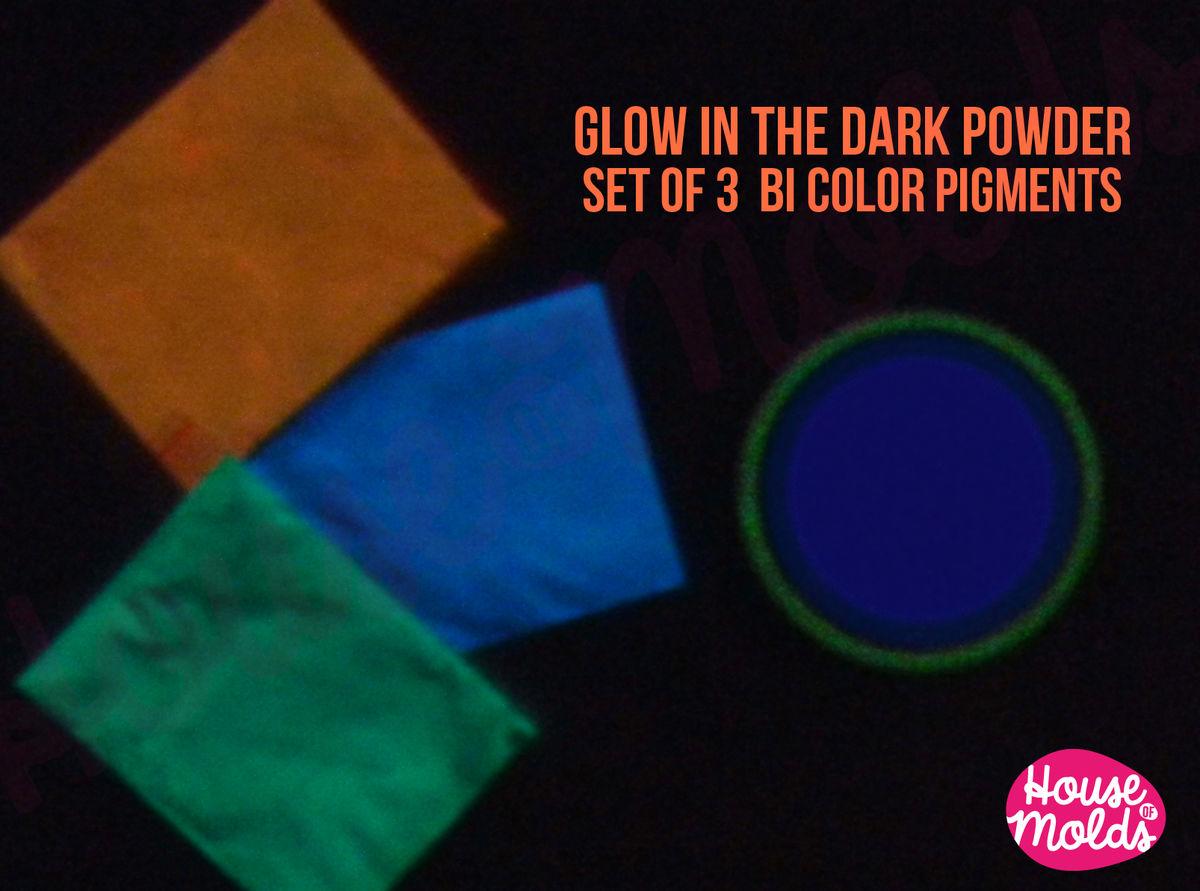 Glow In The Dark Resin bicolor glow in the dark pigments for resin colour kitb of 3