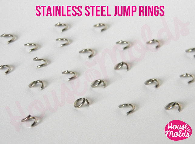 100 Stainless Steel Open Jump Rings -6 mm diameter 1 mm thickness very resistant and quickly link your pendant with necklace - product images  of