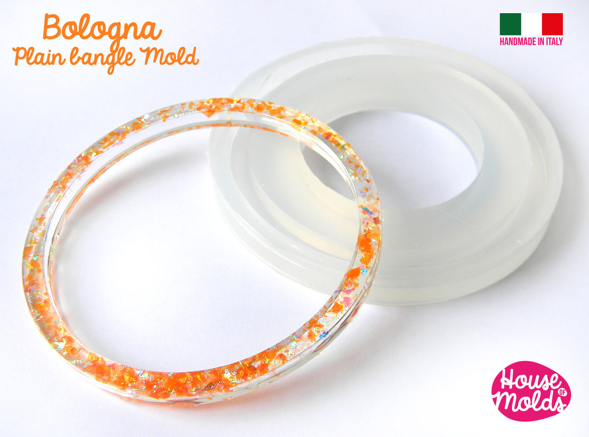 BOLOGNA Plain Bangle Clear Mold,resin bangle mold, 5 SIZES AVAILABLE ,super shiny results! - product images  of