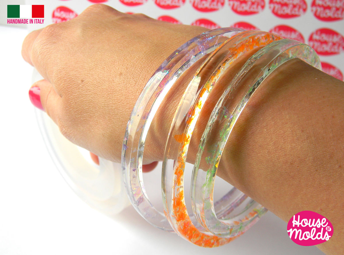 MULTI SIZE BANGLES MOLD-5 SIZES in 1 MOLD -BOLOGNA Plain Bangle ,resin bangle mold,super shiny results! - product images  of