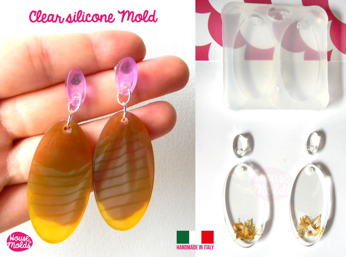 Oval Flat Earring Set+ premade hole on top Clear Silicone Mold, with 4 cavityes- perfect for any resin creations! - product images  of