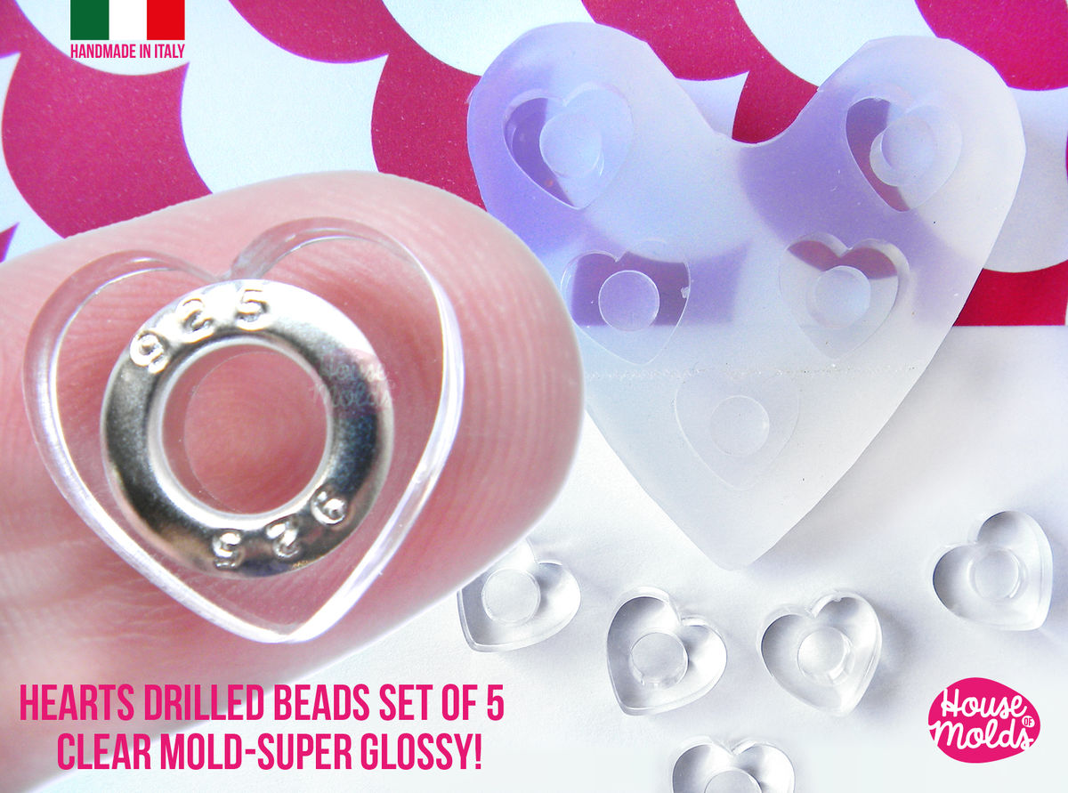 Drilled beads Heart Shape Set of 5 cavityes Clear Mold! Transparent Mold to make adorable hearts drilled beads,super shiny easy to use! - product images  of
