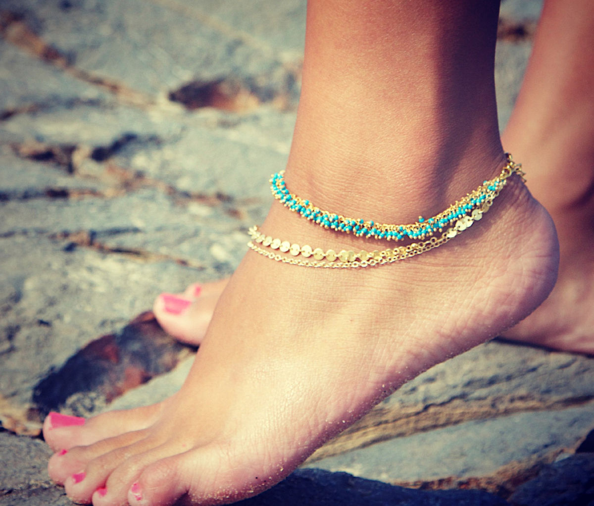 ... Turquoise, Coral, or white anklet 22k gold wire wrapped - LovMely