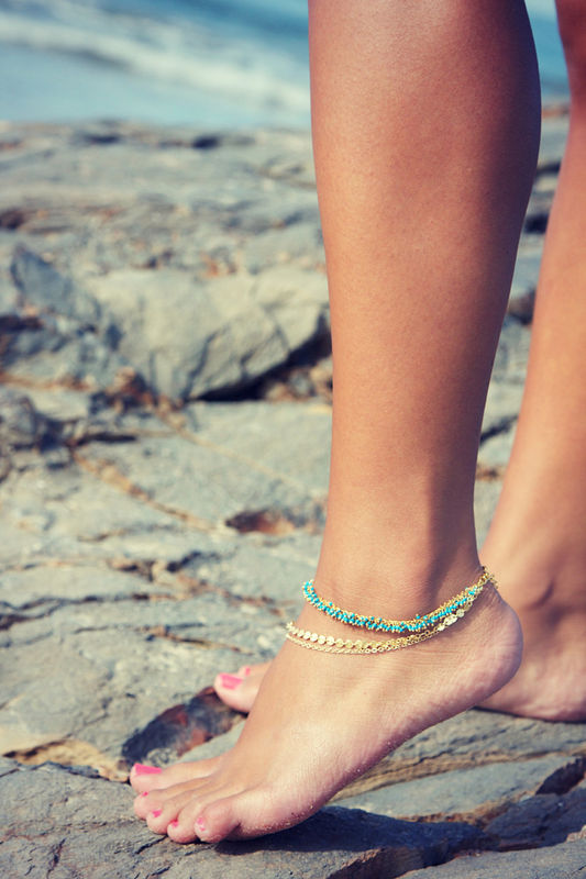 LOVMELY ANKLET- triple chain Turquoise, Coral, or white anklet 22k gold wire wrapped - product images  of