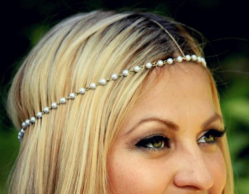 Fashion Women Metal Turquoise Beads Headband Head Chain Piece Hair Band Jewelry