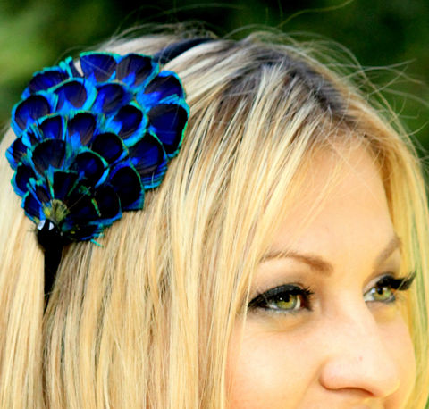 PEACOCK,FEATHER,headband,or,clip,with,embelishment,Accessories,Hair,flapper,costume,feather,peacock,wedding,bride,head_piece,cocktail_hat,fascinator,peacock_costume,feather_headpiece,peacock_wedding