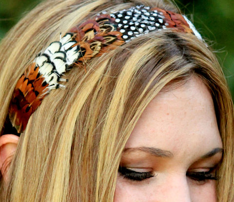 LANA-,feather,headband,Accessories,Hair,lovmely,hair,hat,party,hair_piece,plume,feather_headband,natural,black_and_white,boho,woodland,peacock,guinea