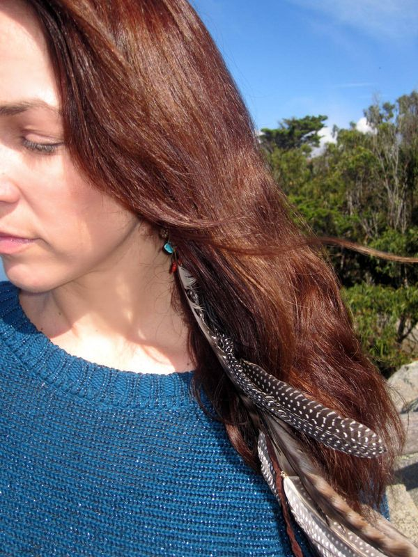 Long Single Feather Earring Or Feather Extension Lovmely