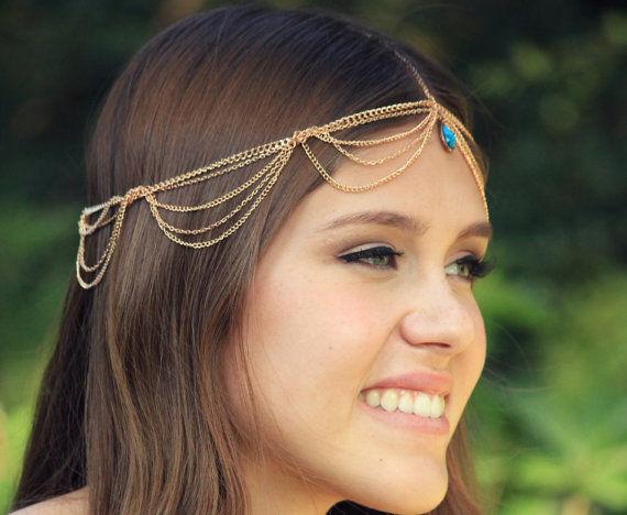 Chain Headpiece Head Chain With Turquoise Embellishment