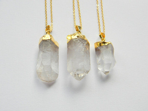 24k Gold plated cap Clear quartz necklace LovMely