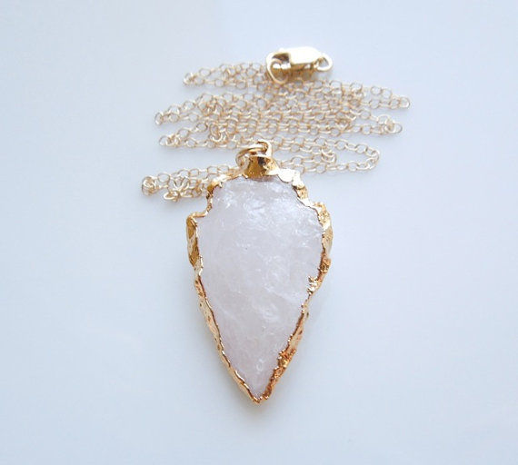 QUARTZ ARROWHEAD PENDANT Necklace 24kt Gold Dipped Pendant Gold