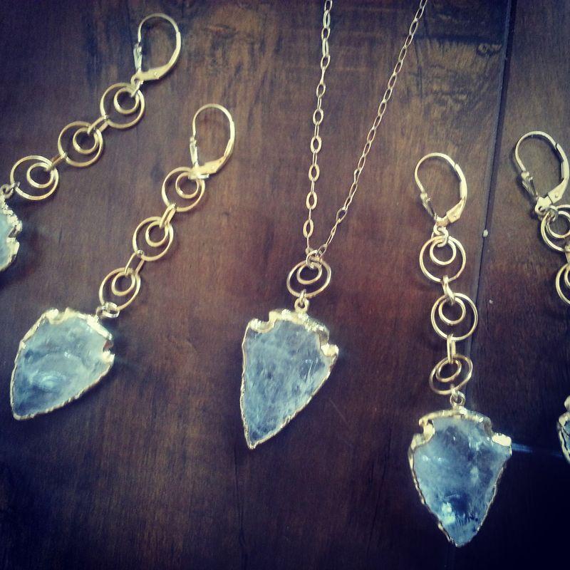 Quartz arrowhead pendant necklace 24kt gold dipped pendant gold quartz arrowhead pendant necklace 24kt gold dipped pendant gold filled necklace stone pendant aloadofball Images