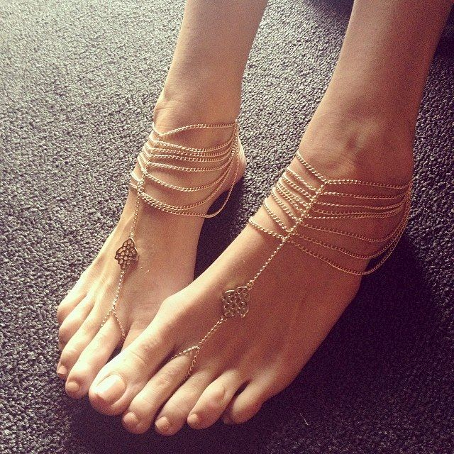 KATY ANKLET gold chain foot anklet available in gold or silver